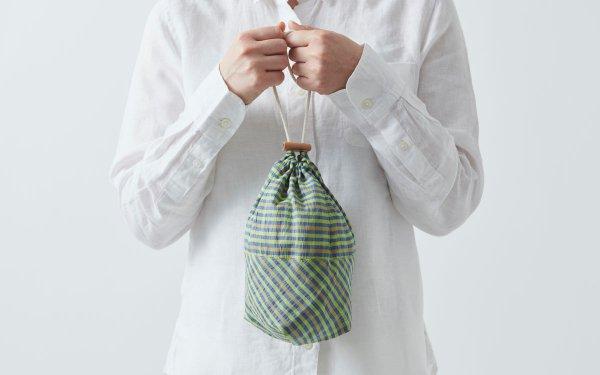【再入荷】リネンコットンの巾着袋 green×blue