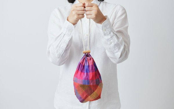 【sold out】本麻ラミーの巾着袋 red/blue × red/orange