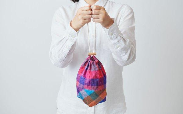 【sold out】本麻ラミーの巾着袋 red/blue × blue/orange
