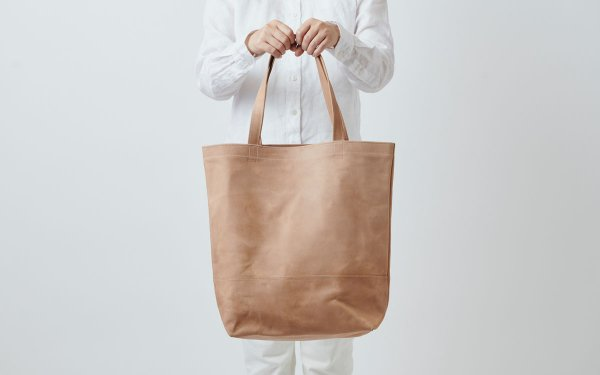 leather totebag beige <L>