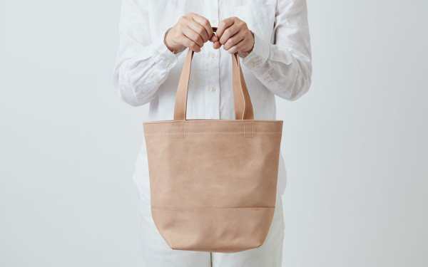 leather totebag beige <S>