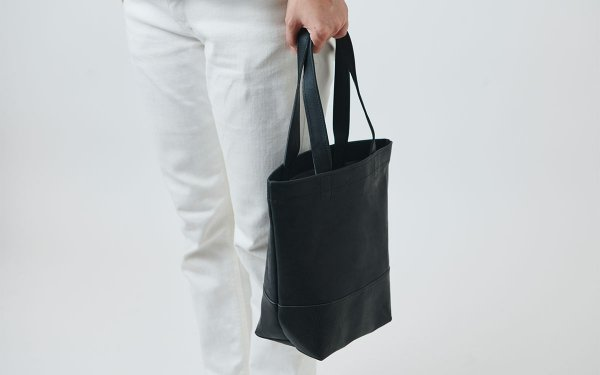 leather totebag black <S>