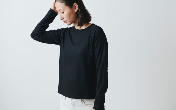【sold out】HANDROOM WOMEN'S ウールカットソー / black