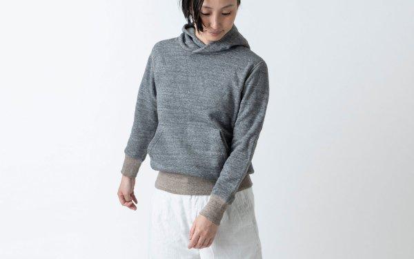 yohaku茶綿プルパーカー|チャコール|unisex 4サイズ