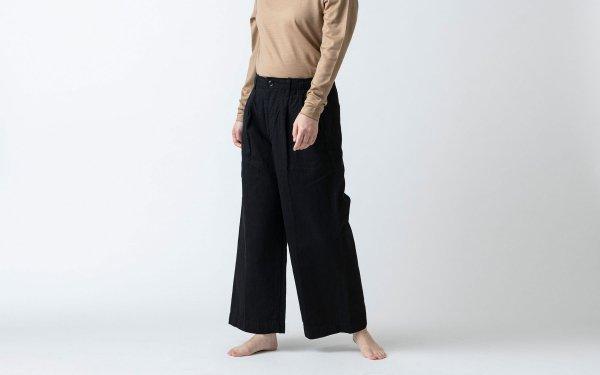 HANDROOM WOMEN'S コットンリネンヘリンボーン ワイドパンツ ブラック