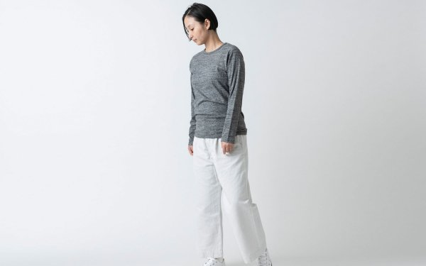 【new】yohaku TUTU ロングスリーブTシャツ|チャコール杢|ユニセックス3サイズ