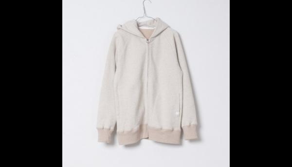 【sold out】yohaku茶綿起毛ジップパーカー|オートミール|ユニセックス2サイズ