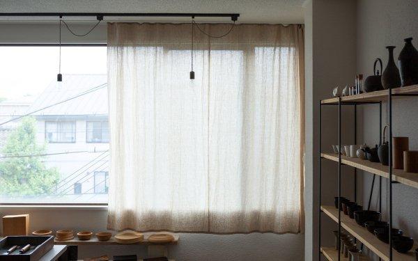 【オーダーメイド】オーガニックリネンのシンプル吊りカーテン