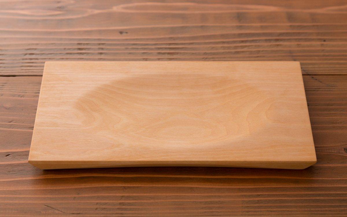 樺の木の角皿(大) 溝あり