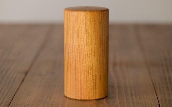 ろくろ挽きの欅の木の茶筒(大)