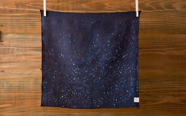 【再入荷】本藍染めオーガニックリネンハンカチ 星空