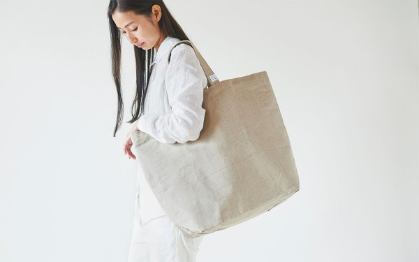 【再入荷】リネン帆布のトートバッグ(L)
