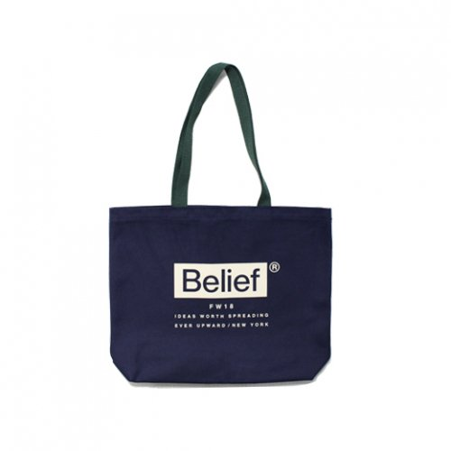 BELIEF NYC -BOXLOGO TOTE BAG(NAVY/HUNTER)<img class='new_mark_img2' src='//img.shop-pro.jp/img/new/icons5.gif' style='border:none;display:inline;margin:0px;padding:0px;width:auto;' />