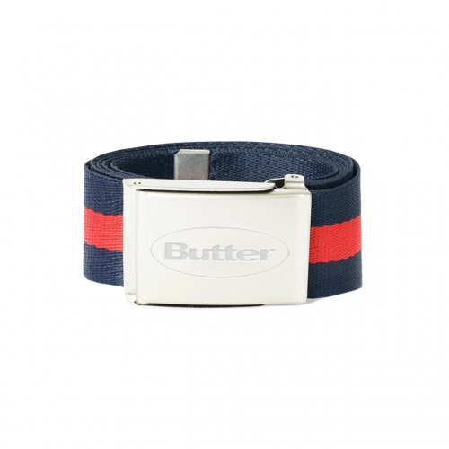BUTTER GOODS-STRIPE WEB BELT(NAVY/RED)<img class='new_mark_img2' src='//img.shop-pro.jp/img/new/icons5.gif' style='border:none;display:inline;margin:0px;padding:0px;width:auto;' />