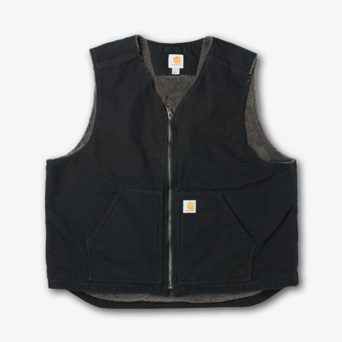 Carhartt-Washed Duck Sherpa-Lined Vest(BLACK)<img class='new_mark_img2' src='https://img.shop-pro.jp/img/new/icons5.gif' style='border:none;display:inline;margin:0px;padding:0px;width:auto;' />