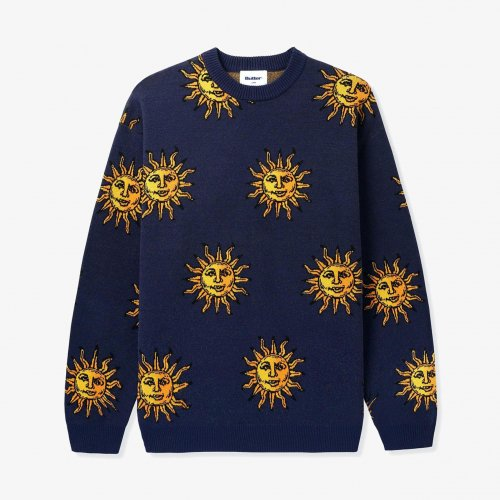 BUTTER GOODS-Sun Knit Sweater(NAVY)<img class='new_mark_img2' src='https://img.shop-pro.jp/img/new/icons5.gif' style='border:none;display:inline;margin:0px;padding:0px;width:auto;' />
