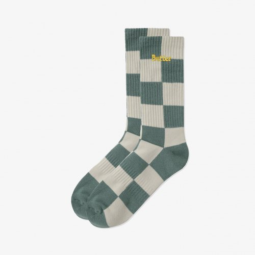 BUTTER GOODS-Checkered Socks(Khaki)<img class='new_mark_img2' src='https://img.shop-pro.jp/img/new/icons5.gif' style='border:none;display:inline;margin:0px;padding:0px;width:auto;' />