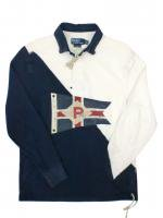 POLO RALPH LAUREN -L/S RUGGER SHIRT(WHITE,NAVY)<img class='new_mark_img2' src='//img.shop-pro.jp/img/new/icons24.gif' style='border:none;display:inline;margin:0px;padding:0px;width:auto;' />