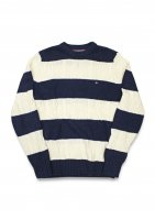 TOMMY HILFIGER-BORDER CABLE KNIT SWEATER(WHITE)<img class='new_mark_img2' src='//img.shop-pro.jp/img/new/icons5.gif' style='border:none;display:inline;margin:0px;padding:0px;width:auto;' />