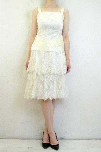 ヨーロッパ古着 FRANCE製 uzanel ホワイトレースドレス ウェディング