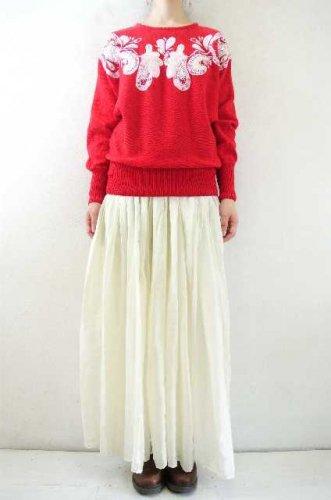 5bd3172d57b51 アメリカ古着 Cedars コットン×ラミーニット ビジュー刺繍セーター 赤 ...