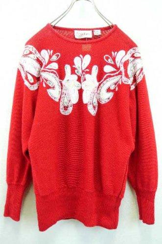 e66f4498446c2 アメリカ古着 Cedars コットン×ラミーニット ビジュー刺繍セーター 赤 - ヨーロッパやアメリカのヴィンテージ古着なら|古着屋ChuPa