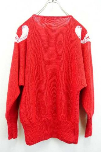 2a2b1933dd1de アメリカ古着 Cedars コットン×ラミーニット ビジュー刺繍セーター 赤 - ヨーロッパやアメリカのヴィンテージ古着なら|古着屋ChuPa