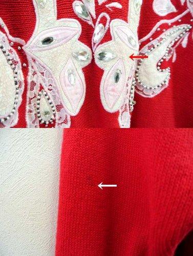 8adeae787b2ba アメリカ古着 Cedars コットン×ラミーニット ビジュー刺繍セーター 赤. ◇◇コメント◇◇ アメリカより入荷いたしました、Cedarsの ビジュー刺繍セーターです。