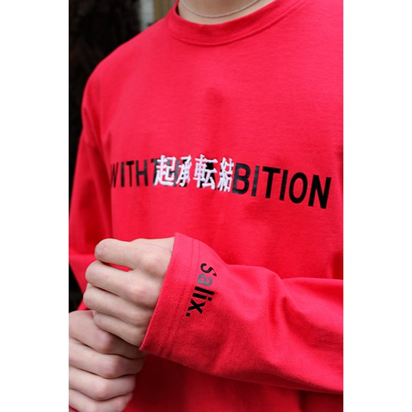 THEME EMBROIDERY TEE L/S / RED