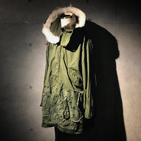 Military patchwork mods coat