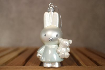 Miffi w / baby blue w / bear / Ornament glass Nijnje