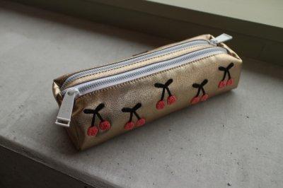 Pencil Case Double Cherry Pompon