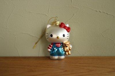 Hello Kitty ブルー くま / ガラス オーナメント Hello Kitty