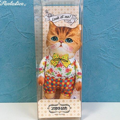 【コヤンイ サムチョン・アンクルキャットドール チェック Check 猫のぬいぐるみ人形 Sサイズ