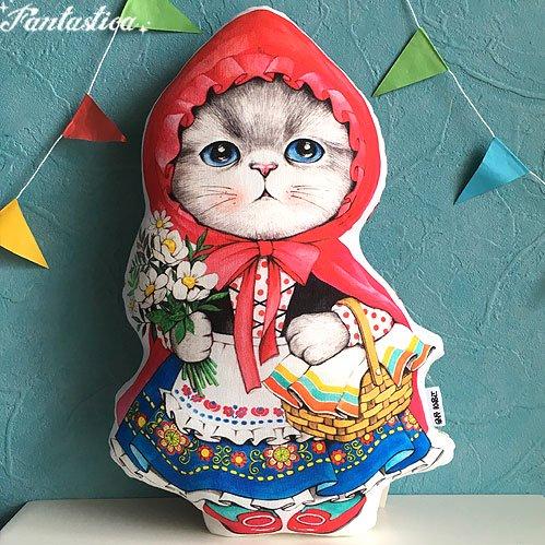 【コヤンイ サムチョン・アンクルキャット】猫のドール・クッション 赤ずきんのルミ RUMI the red hooded
