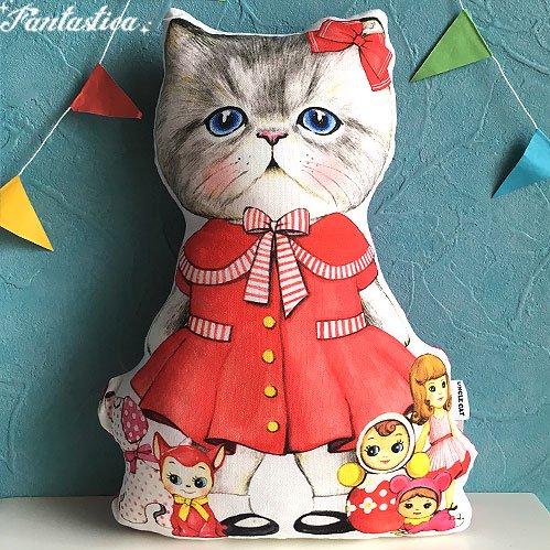 【コヤンイ サムチョン・アンクルキャット】猫のドール・クッション 赤いワンピースのルミ RUMI wears a red ski…