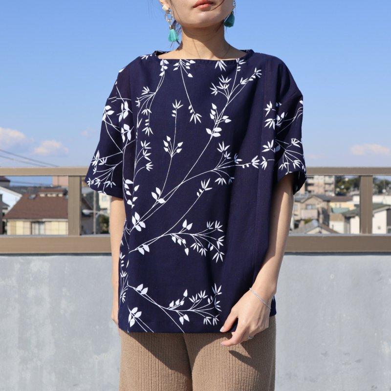浴衣のビッグTシャツブラウス(植物・M)