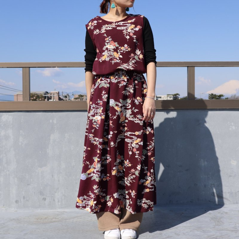 小紋の着物から作ったセットアップ風ワンピース(紫・L)