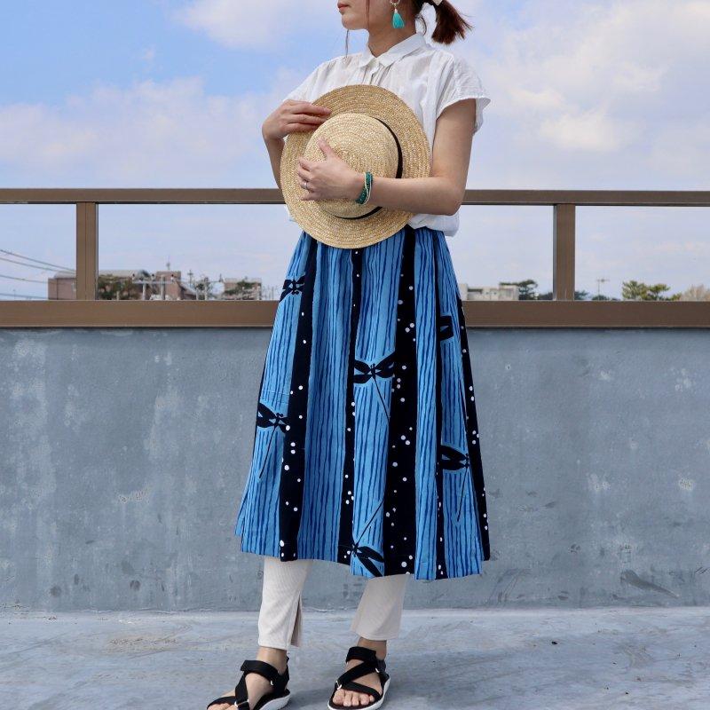 浴衣のタック入りスカート(トンボと水玉・M)