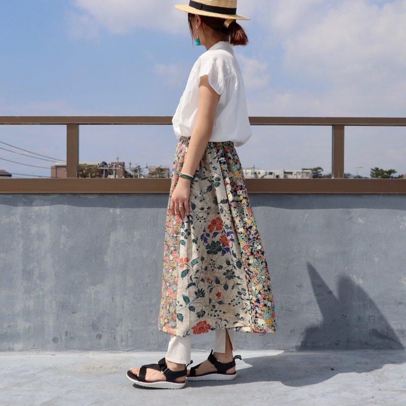 小紋の着物から作ったロングスカート(パッチワーク・M〜L)