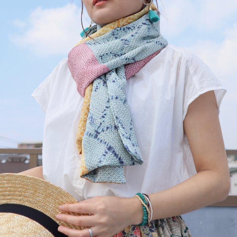 絞りの羽織から作ったパッチワークストール(春色)