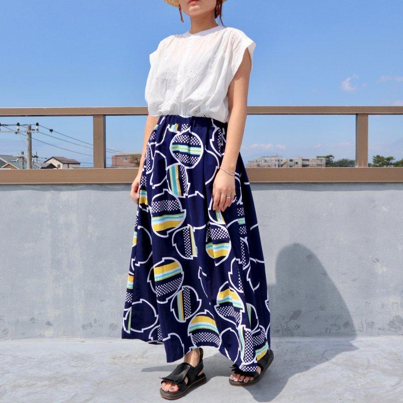 浴衣のタック入りスカート・マキシ丈(鈴のような幾何学文様・L)