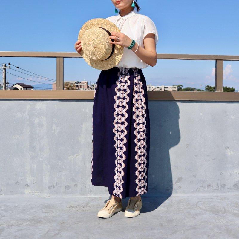 浴衣のプリーツスカート(吉原つなぎ文様・L)
