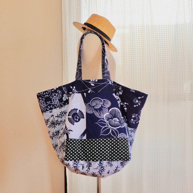 浴衣と藍染め木綿の大容量バッグ(パッチワーク)