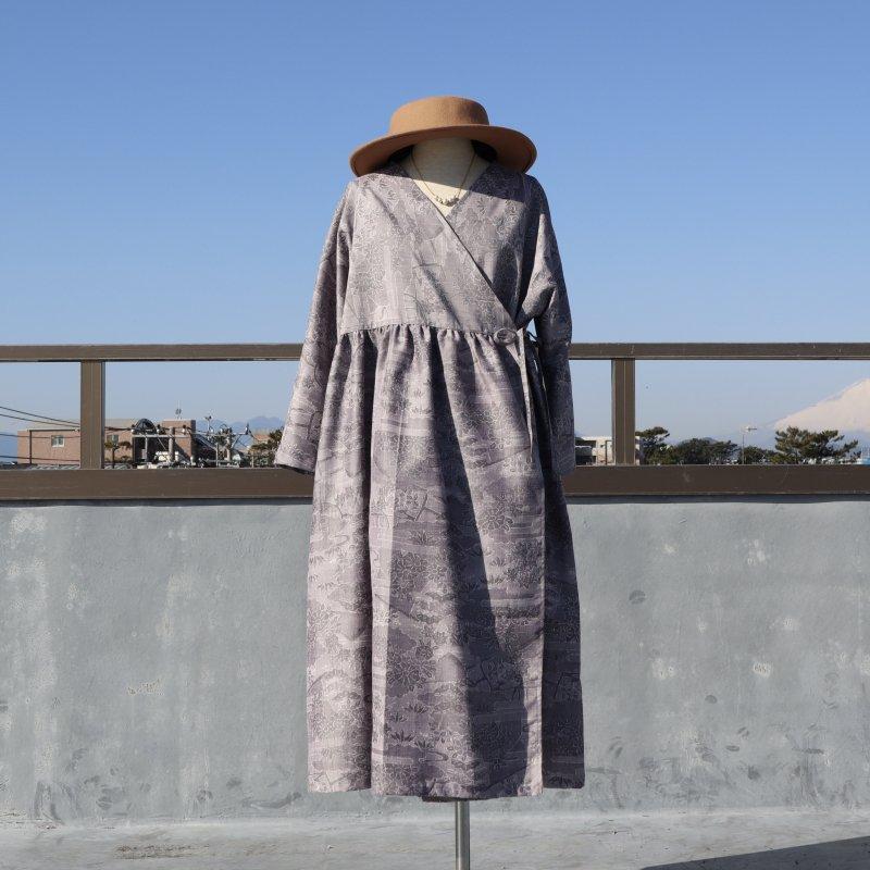 紬のカシュクールワンピース(グレーに菊や松・L)