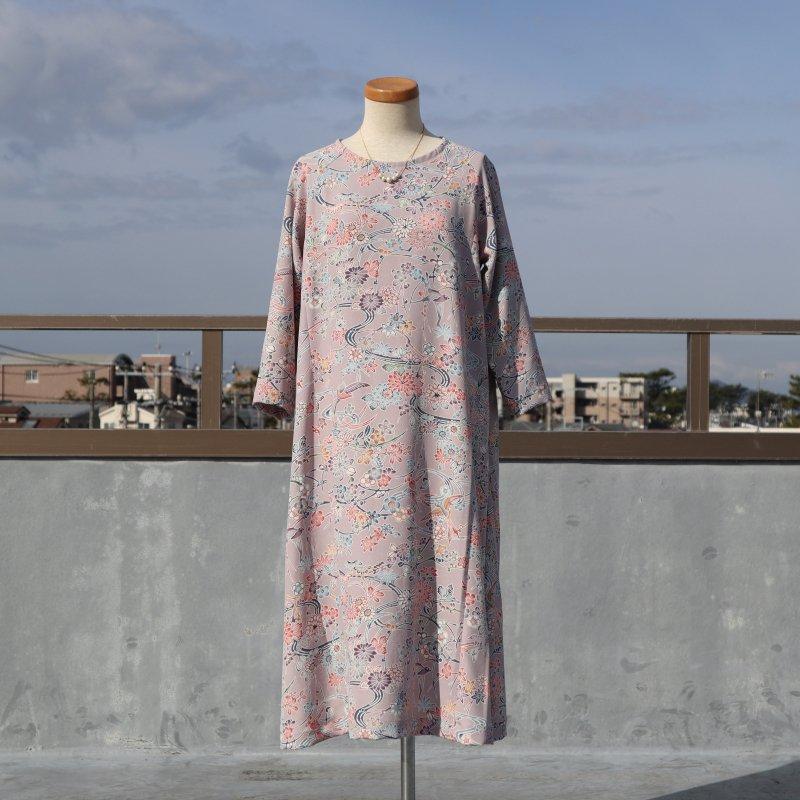 小紋の着物から作ったラグラン袖のAラインワンピース(鳥や花・M)