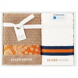 BEAMS DESIGN(ビームス デザイン)<p>フェイスタオル&ウォッシュタオルセット オレンジ</P>