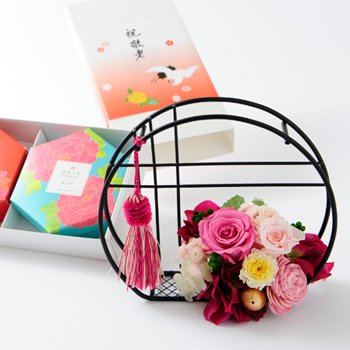 銀座六花2個入・プリザーブドフラワー「ピンク」のセット【早割5%引! 敬老の日ギフト 送料無料】
