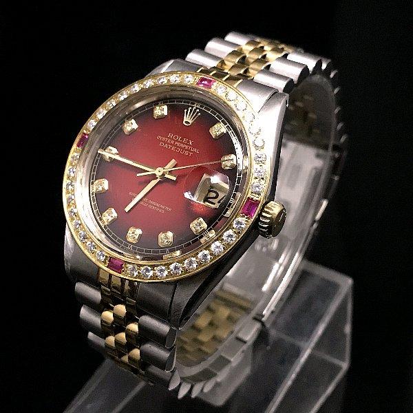 new products b5b00 7c1b9 ロレックスROLEXのダイヤ メンズデイトジャスト (ブラック×レッド×ゴールド)   デイデイトナ好きな方にも -  アンティーク腕時計のfreemen ~パテックフィリップやランゲ&ゾーネ等の腕時計通販販売