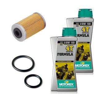 オイル交換キット【MOTOREX OIL FORMULA 4T(15W-50)】125-200